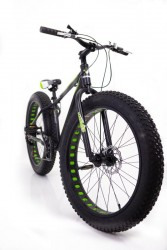 """Фэтбайк-Горный велосипед """"S800 HAMMER EXTRIME МАХ"""" Колёса 26''х4,0. Алюминиевая рама 19'' Черно-зеленый"""