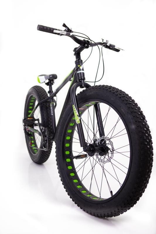 """Фэтбайк-Горный велосипед """"S800 HAMMER EXTRIME"""" Колёса 26''х4,0. Алюминиевая рама 17'' Черно-зеленый"""