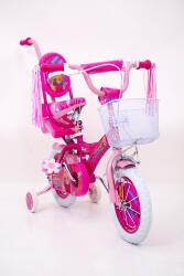 Детский розовый велосипед для девочки BARBIE-14 дюймов Барби с Родителськой ручкой от 4 лет