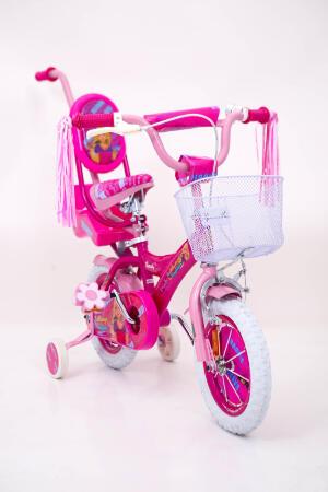 Дитячій Велосипед рожевий для дівчинки BARBIE-14 дюймів з батьківською ручкою від 4 років