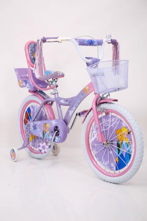 ♥❄Дитячій велосипед для дівчинки з кошиком 18 дюймів  Крижане Серце Анна і Єльза від 7 років с багажником та боковими колесами