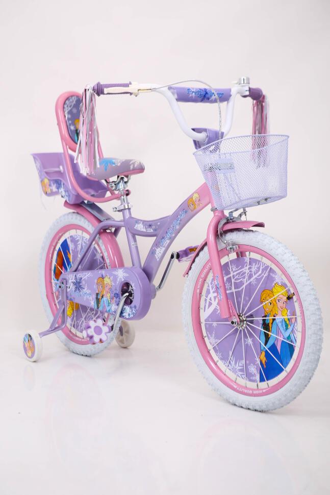 Велосипед для девочки 18 дюймов ICE FROZEN Ледянное Сердце Анна и Эльза от 7 лет с корзинкой и боковыми колесами