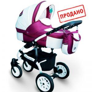 Дитяча коляска 2 в 1 Херес-люкс білий фіолетовий