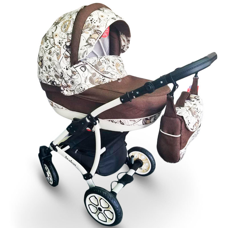 Baby Stroller 2 in 1 AVALON Brown-Flower