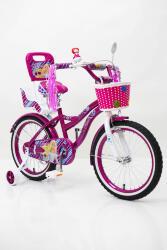 """Велосипед  для девочки """"Flora-18"""" с боковыми колесами корзинкой и багажником"""