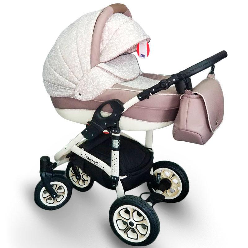 """Baby Stroller 2 in 1 """"Michelle"""" White-Biege"""