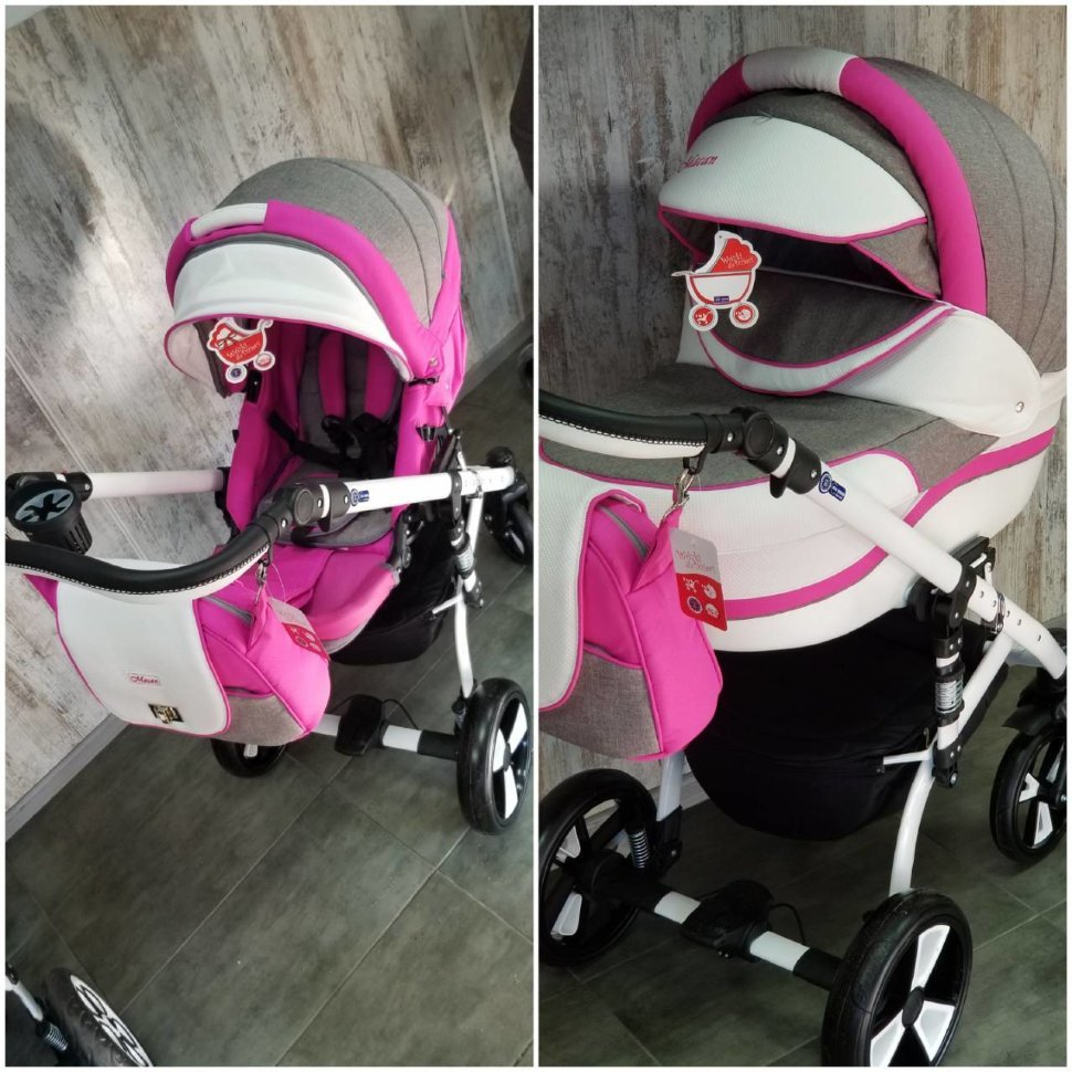 "Baby Stroller 2 in 1 ""MACAN"" Grey-Pink"