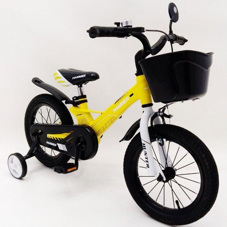 HAMMER HUNTER-1450D жовтий дитячий велосипед з магнієвою рамою легкий з кошиком