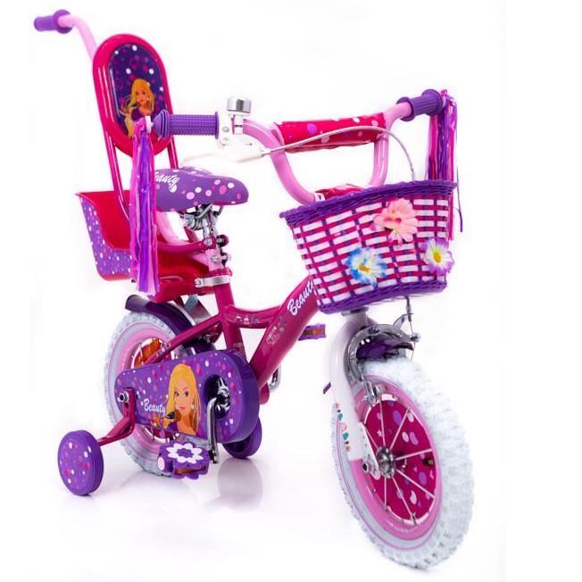 """Рожевий Дитячій велосипед для дівчинки від 3 років з батьківською ручкою """"Barbie-12"""" Барбі"""
