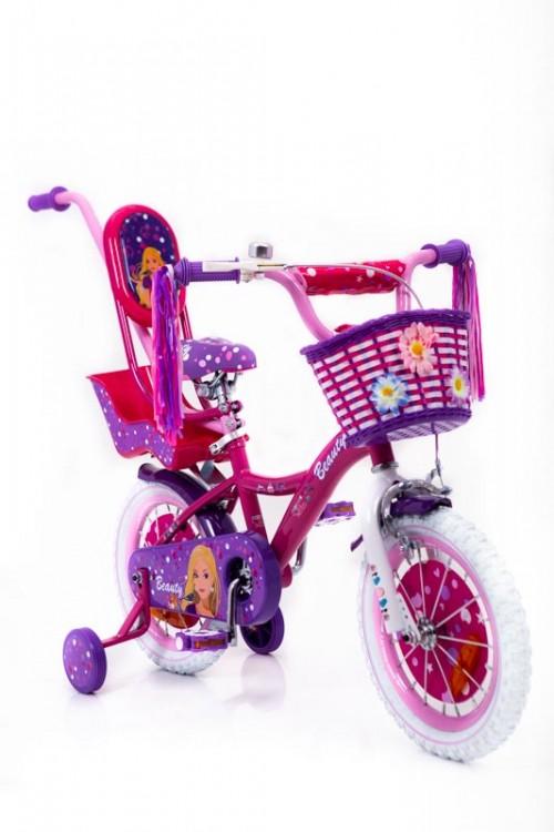 """Дитячій Велосипед для дівчинки """"BARBIE-14"""" дюймів з батьківською ручкою від 3 років рожевий"""