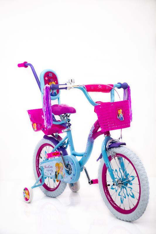 ❤❄Велосипед для девочки 16дюймов Ice Frozen Ледяное сердце Анна и Эльза с корзинкой и банажником для куклы
