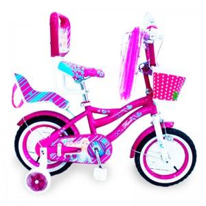 """Велосипед детский фиолетовый для девочки от 3 лет с родительской ручкой и боковыми колесами """"Flora-12"""" дюймов"""