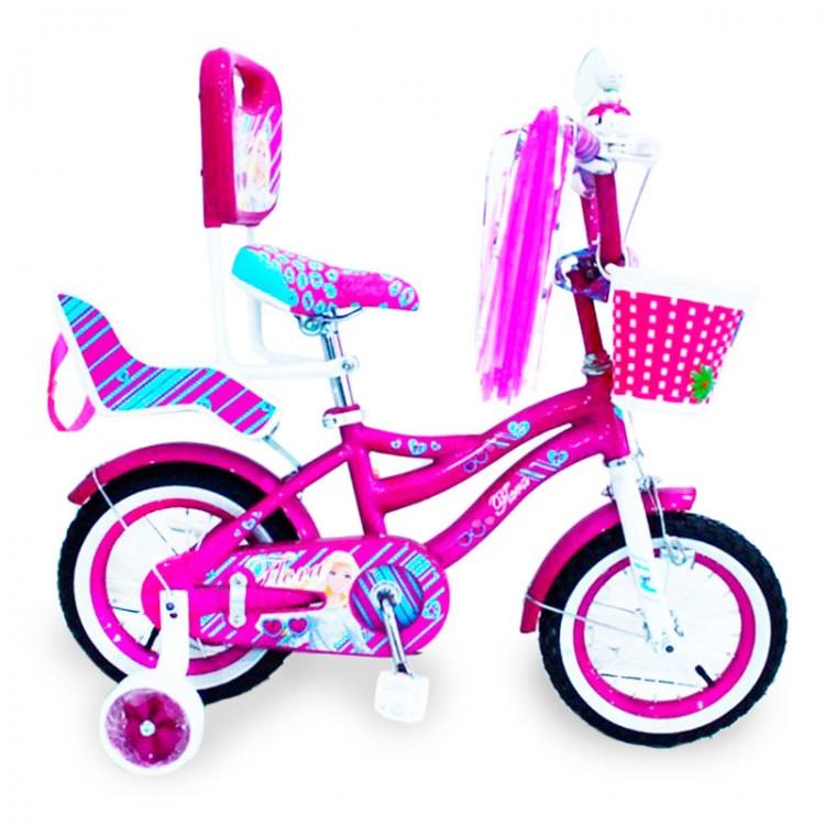 """Велосипед дитячій фіолетовий для дівчинки від 3 років з батьківською ручкою та боковими колесами  """"Flora-12"""" дюймів"""
