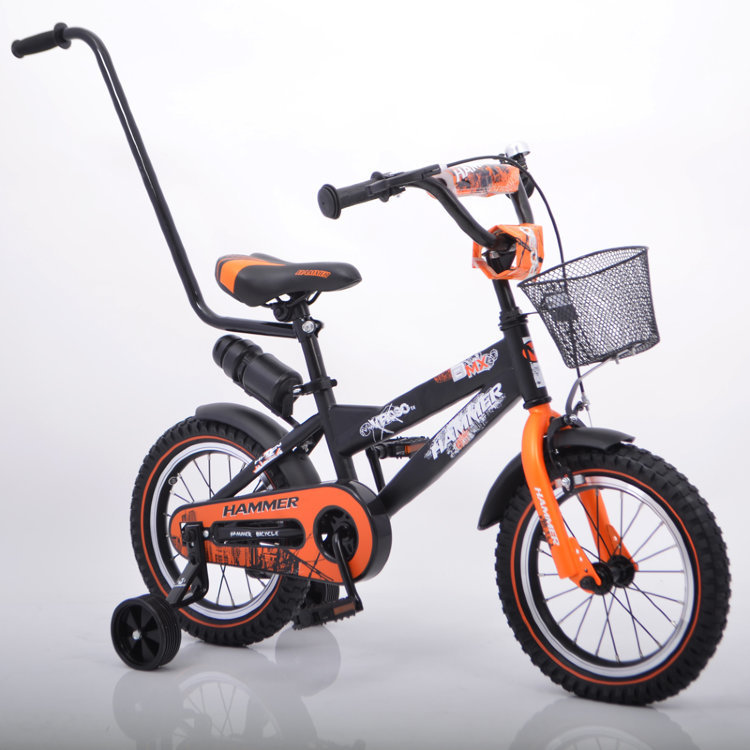 """Детский Велосипед с ручкой """"HAMMER-14"""" S600  Колёса 14''х2,4' Черно-оранжевый"""