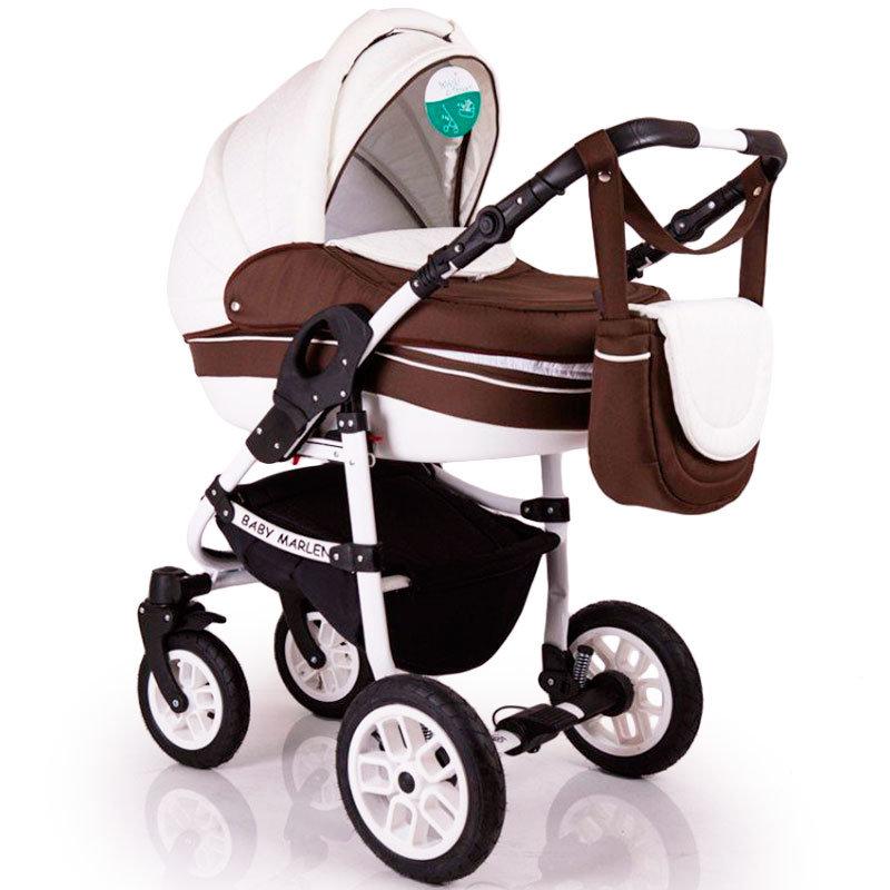 Детская коляска 2 в 1 Baby Marlen белая с коричневым