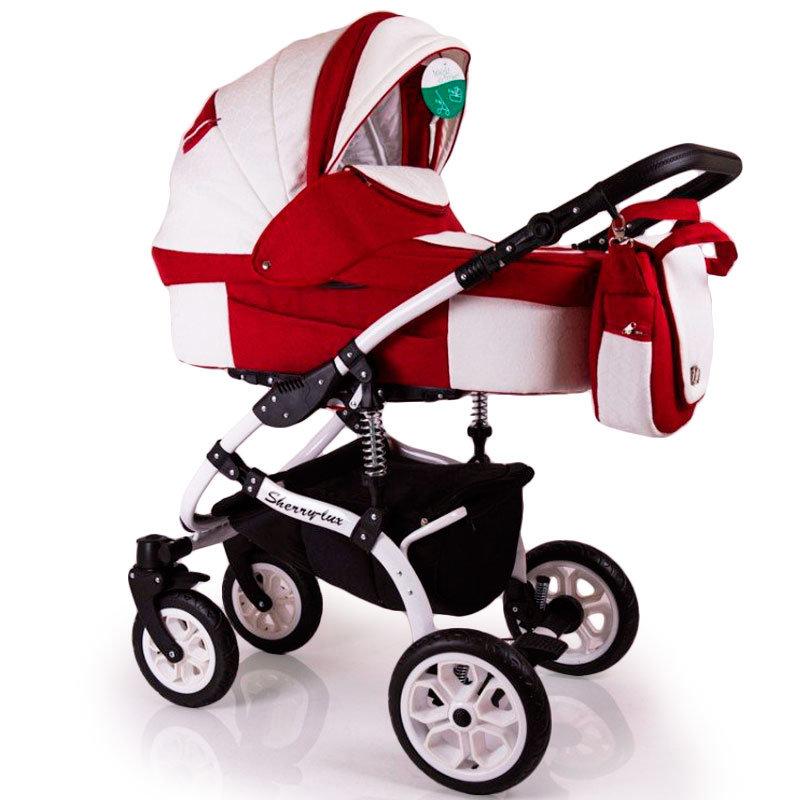 Детская коляска 2 в 1 Sherry Lux  бело-красная
