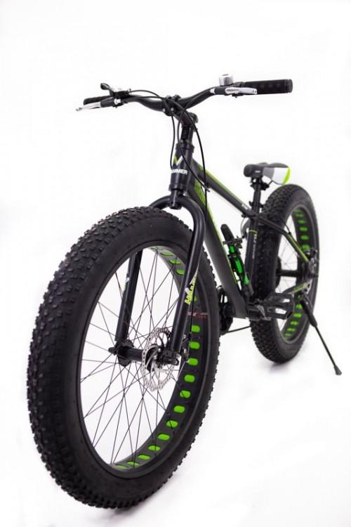 Гірський Велосипед Фєт Байк S800 HAMMER Extrim колеса 24х4 Алюмінієва рама 14 зелений