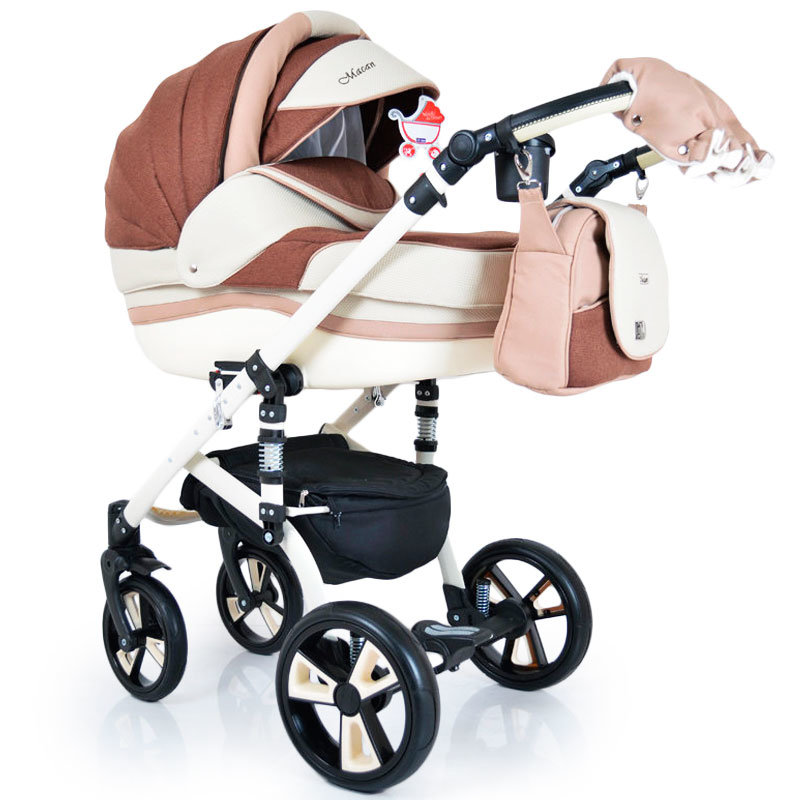 """Baby Stroller 2 in 1 """"MACAN"""" White-Brown"""