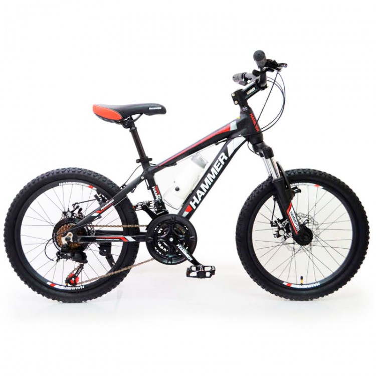 🚵♂️Гірський Підлітковий Велосипед HAMMER-20 дюймів   від 8 років (Алюміній) чорно-червоний Рама 12