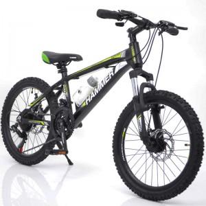 🚵♂️Гірський Підлітковий Велосипед HAMMER-20 дюймів   від 8 років (Алюміній) чорно-зелений Рама 12