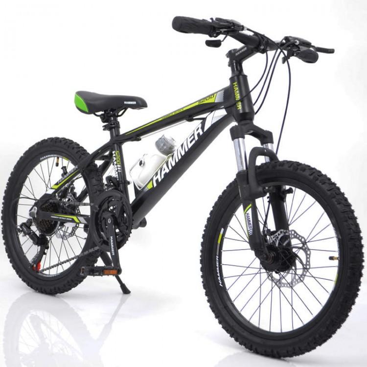 Горный подростковый Велосипед S200 HAMMER Колёса 20''х2,25, Рама 12'' Черно-зеленый