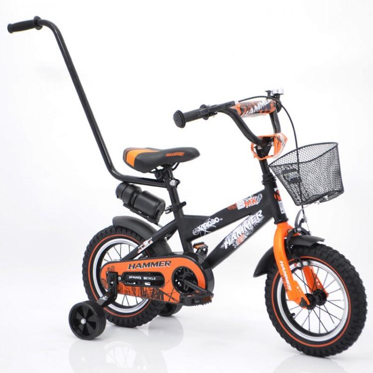 """🎈Дитячий велосипед з батьківською ручкою від 3 років """"S600 HAMMER"""" колеса 12 дюймів ' ' х 2,4 """"чорний з помаранчевим"""