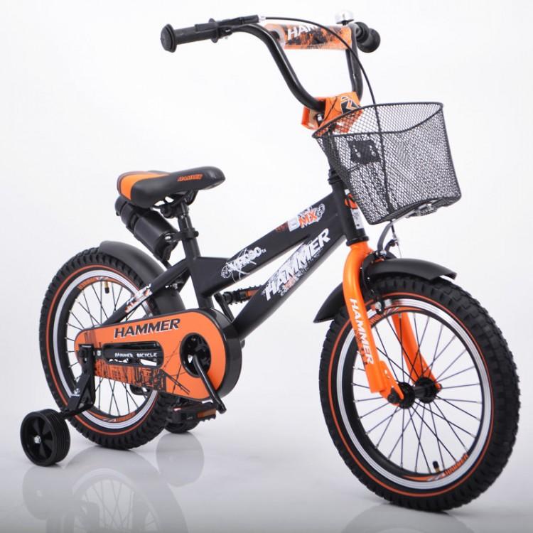 """Дитячий велосипед """"S600 HAMMER"""" колеса 16 ' ' х 2,4 """"чорний та помаранчевий"""
