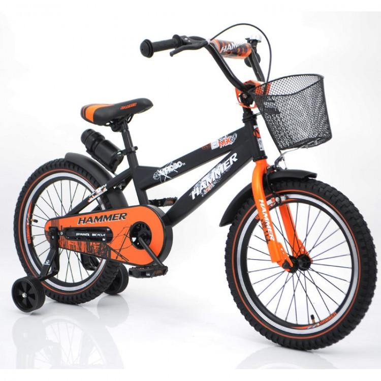 """Дитячий велосипед """"S600 HAMMER"""" колеса 18 ' ' х 2,4 """"чорний з помаранчевим"""