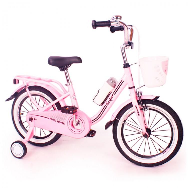 """Велосипед для девочки от 4 лет розовый """"CASPER-16"""" Pink с родительской ручкой и багажником"""