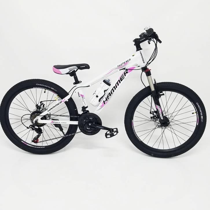 Гірській підлітковий велосипед HAMMER-24 біло рожевий