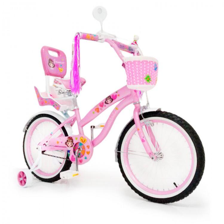 Велосипед детский для девочки от 6 лет JASMINE 18 дюймов розовий  с корзинкой