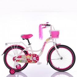 Испанский Велосипед для девочки от 8 лет INFANTA-20 Бело-малиновый с корзинкой и багажниклм для кукол