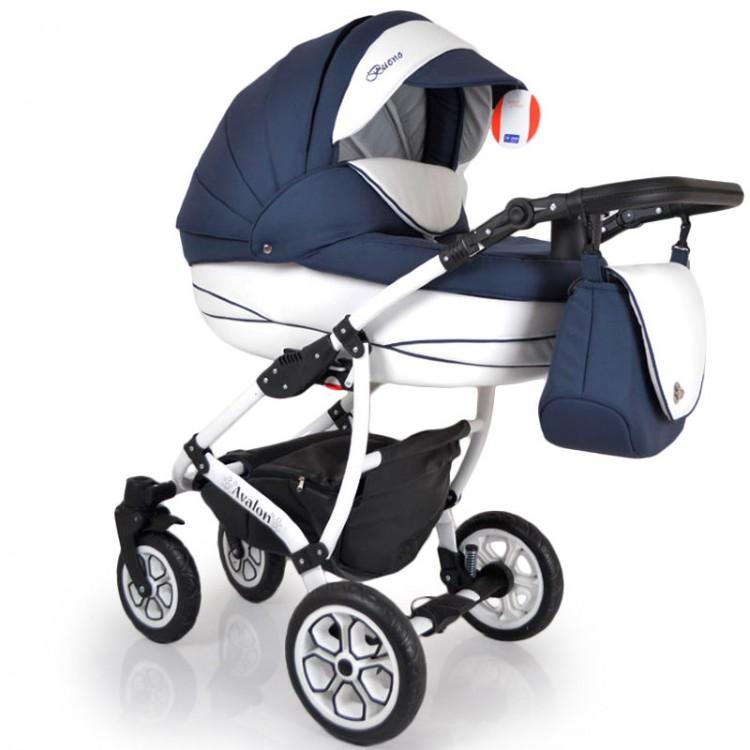 Дитяча коляска 2 в 1 AVALON BUENO  Синьо-біла