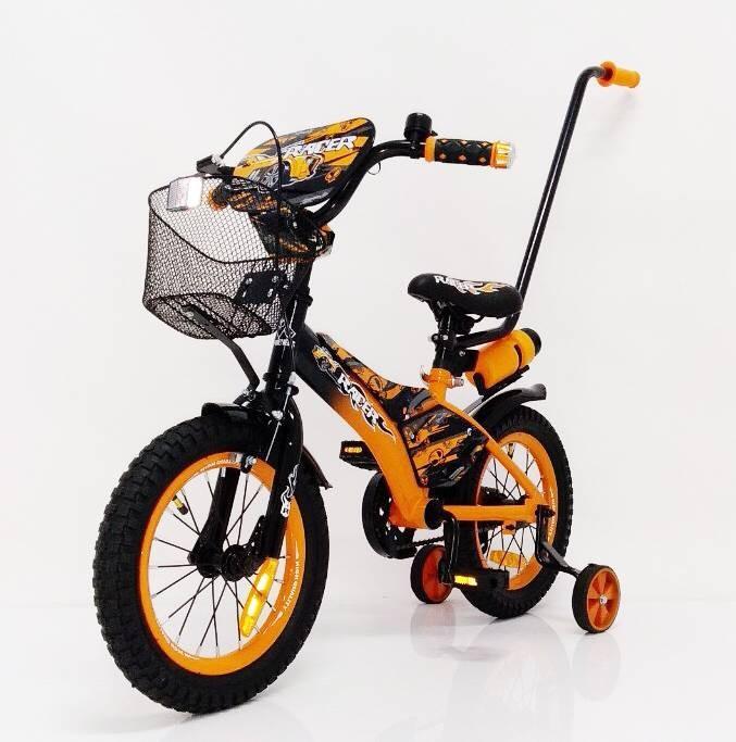 Детский велосипед от 3 лет с родительской ручкой Racer 14 дюймов оранжевый