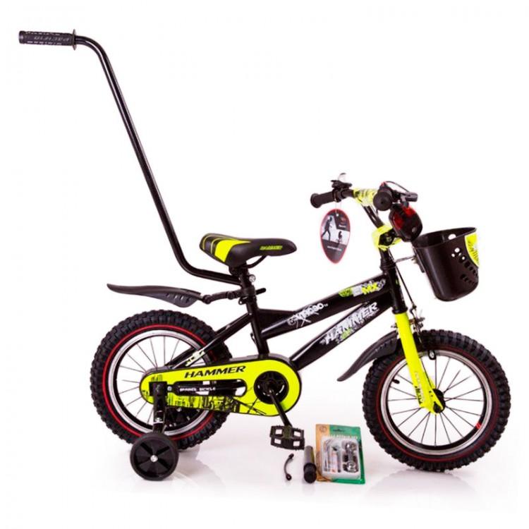 """🎈Дитячій Велосипед для хлопчика з батьківською ручкою """"HAMMER-14"""" S600 від 4 років чорно-жовтий"""